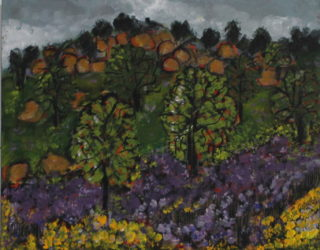 An Acrylic painting by Julie Rooney in the Impressionist style  depicting Landscape Bush with main colour being Grey and Red and titled Mt Tarrengower
