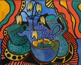 An Acrylic painting by Julie Rooney in the Abstract Impressionist style  depicting Jugs with main colour being Blue Green and Red and titled Blue Teapot