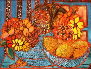 An Acrylic painting by Julie Rooney in the Semi Abstract Expressionist style  depicting Fruit with main colour being Blue Red and Yellow and titled Lemons in a Bowl