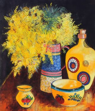 An Acrylic painting by Julie Rooney in the Realist Impressionist style  depicting Flowers with main colour being Yellow and titled Wattle