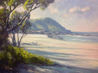 An Oil painting by John Rice in the Impressionist style  Beach Sea and Water with main colour being Blue Cream and Green and titled Chinamans Beach, Evans Head