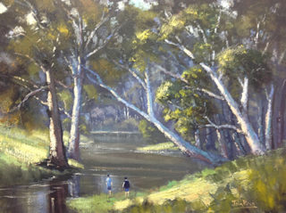 An Oil painting by John Rice in the Impressionist style  depicting River Boy Bush and Creek with main colour being Blue and Green and titled Exploring The River