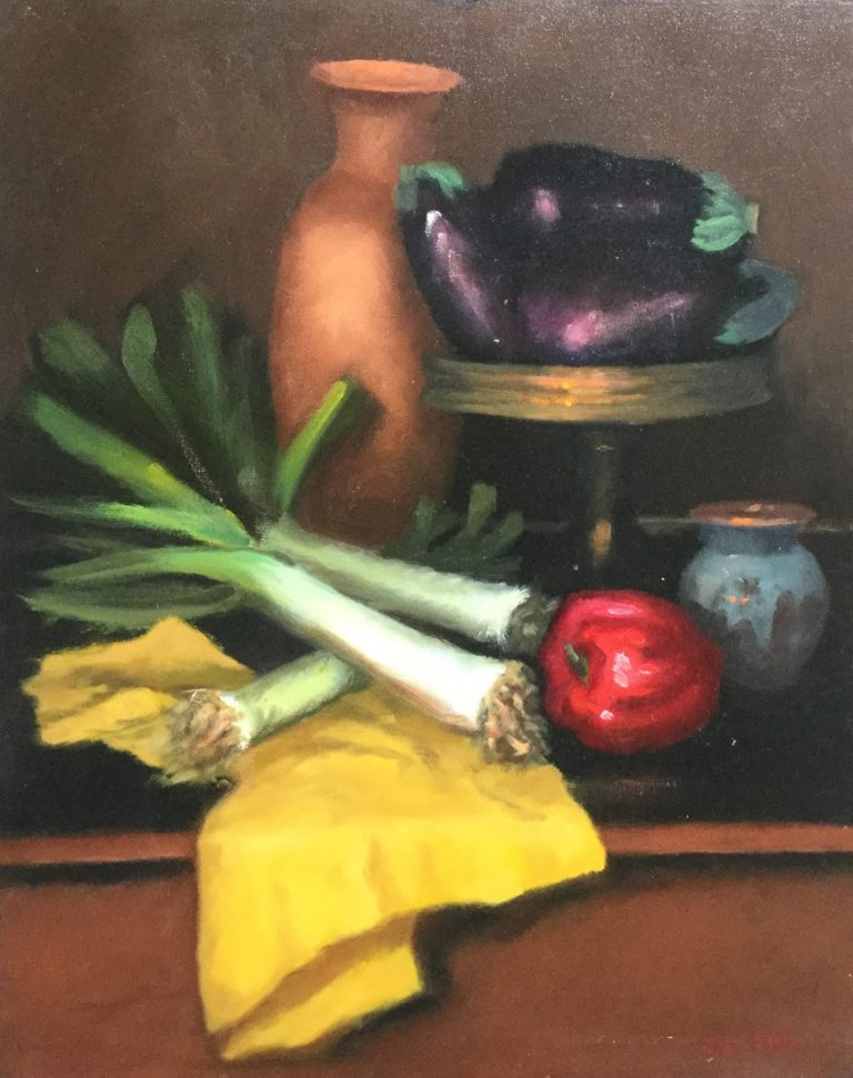 Oil Painting by Lyn Ellis titled Still Life with Veggies