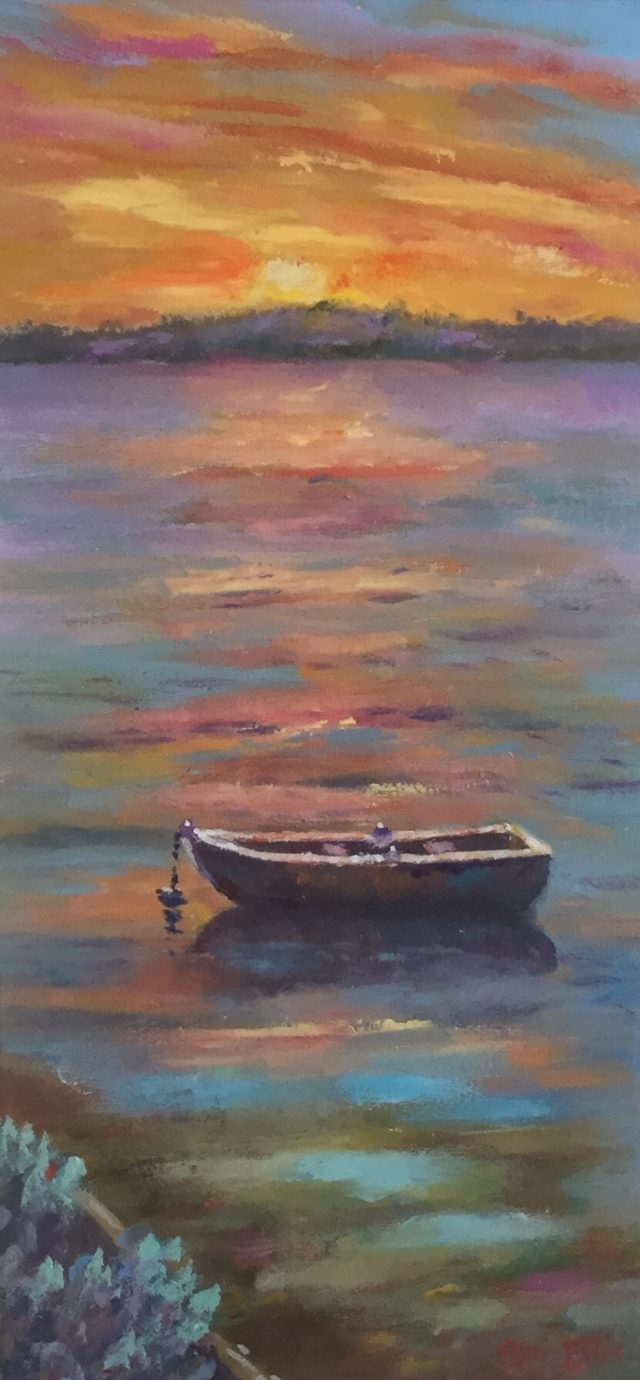 Oil Painting by Lyn Ellis titled Sunset, Swan Bay