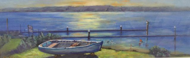 Painting by Lyn Ellis titled Repairs to Sally, Swan Bay