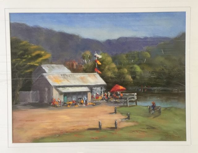 Oil Painting by Lyn Ellis titled Swing Bridge Cafe, Lorne