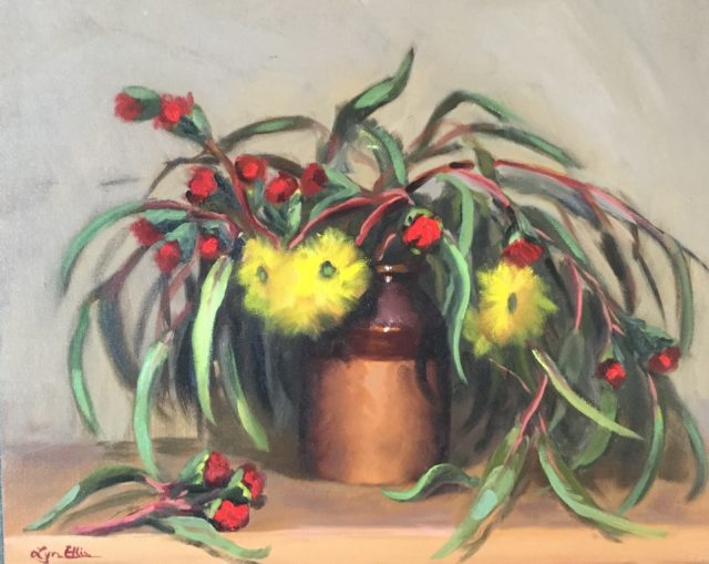 Painting by Lyn Ellis titled Illyarrie (Red Capped Gum)