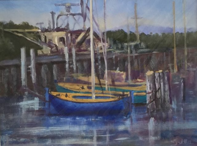 Oil Painting by Lyn Ellis titled Couta Boats, Queenscliff