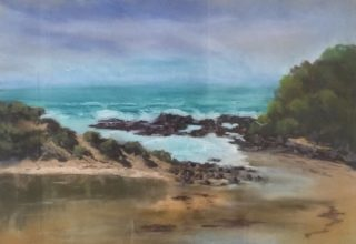 A Pastel artwork by Lyn Ellis in the Impressionist style  depicting Beach Rocks and Water and titled St Georges River, Great Ocean Road