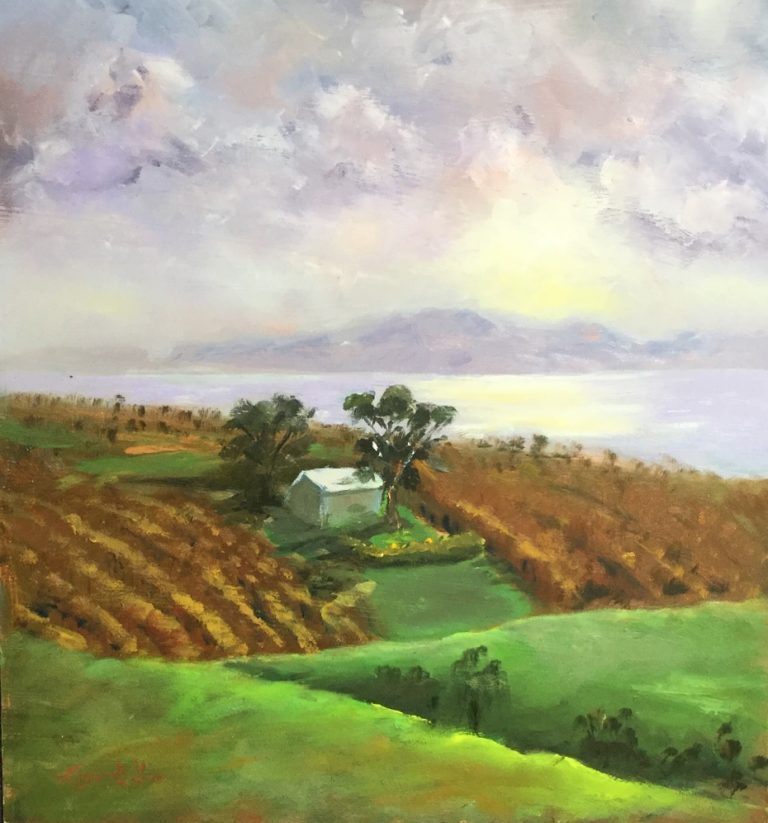 Oil Painting by Lyn Ellis titled Foggy Morning at Scotsman's Winery, Portarlington