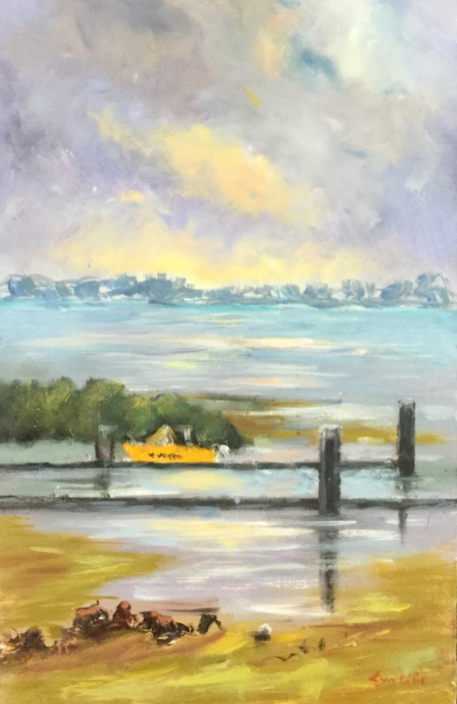 Oil Painting by Lyn Ellis titled Launching Ramp, Swan Bay