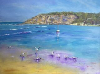 An Acrylic painting by Lyn Ellis in the Impressionist style  depicting Beach and titled At the River Mouth, Barwon Heads