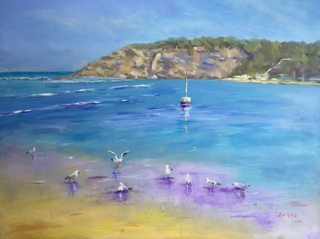 Painting by Lyn Ellis titled At the River Mouth, Barwon Heads