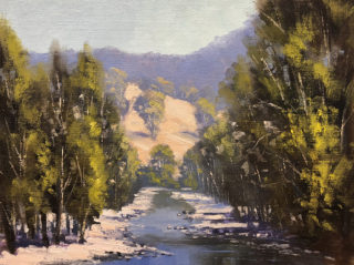 An Oil painting by John Rice in the Impressionist style  depicting River Creek and Hills with main colour being Blue Green and Ochre and titled Little Manning River