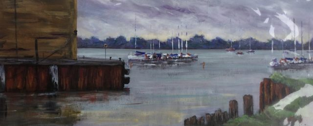 Painting by Lyn Ellis titled Cayzers Slips Swan Bay, Queenscliff