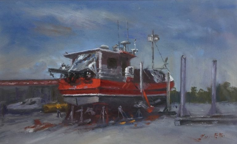 Oil Painting by Lyn Ellis titled Western Light at Queenscliff Harbour