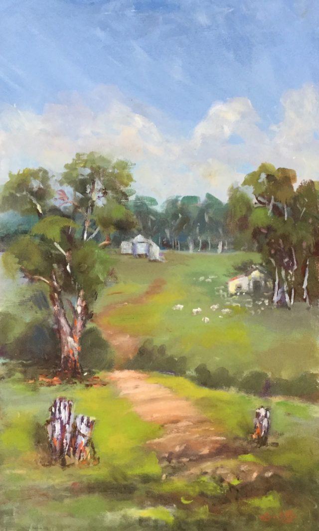 Oil Painting by Lyn Ellis titled Dean's Marsh Farm
