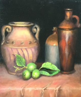 An Oil painting by Lyn Ellis in the Impressionist style  depicting  Clay Pots Fruit and Jugs with main colour being Black Brown and Green and titled Still Life with Limes
