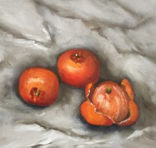 An Oil painting by Lyn Ellis in the Impressionist style  depicting Fruit and titled Mandarins