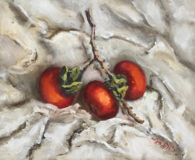 Painting by Lyn Ellis titled Persimmon 2