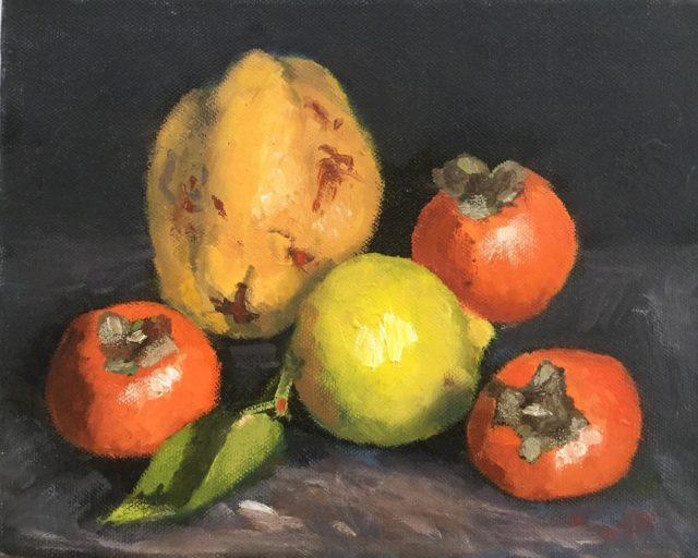 Painting by Lyn Ellis titled Quince, Lemon and Persimmons
