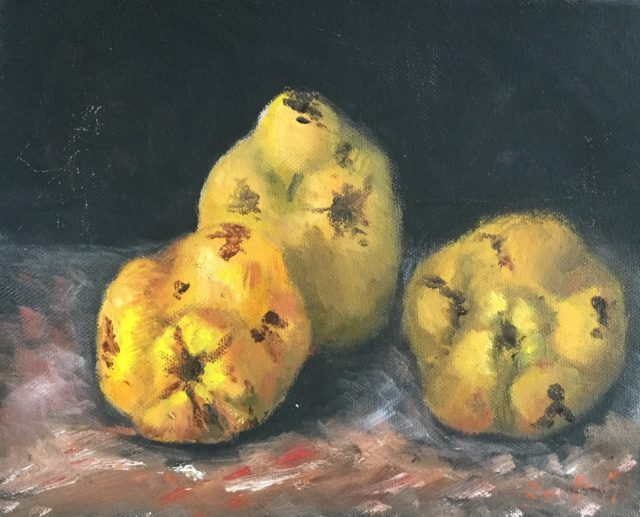 Painting by Lyn Ellis titled Quinces 1