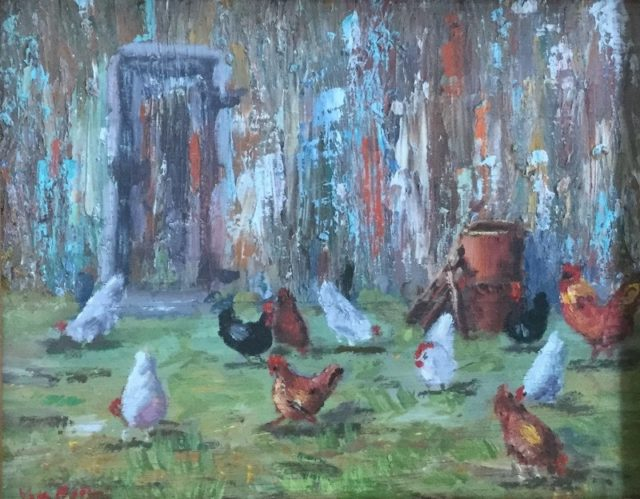Oil Painting by Lyn Ellis titled Hen House