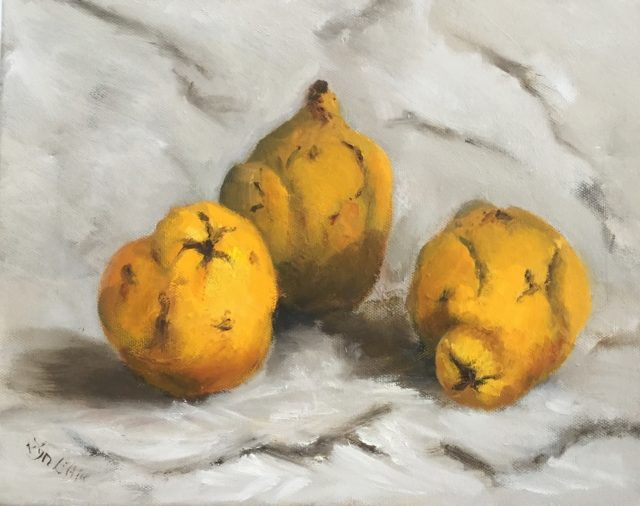 Painting by Lyn Ellis titled Quinces 2