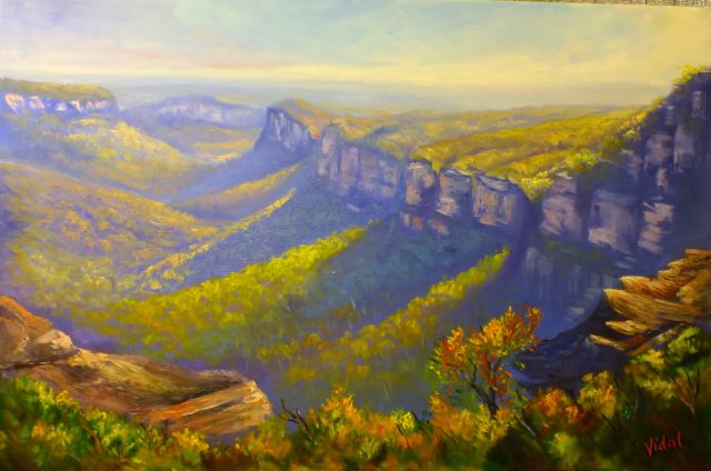 Acrylic Painting by Christopher Vidal titled View of the Grose Valley from Mount Banks Traverse
