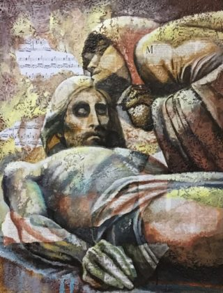 An Acrylic painting by Naji Sassine depicting  Man and Woman with main colour being Grey and Yellow and titled Jesus in Tomb 1