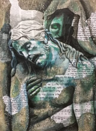 An Acrylic painting by Naji Sassine depicting Man with main colour being Blue and Grey and titled Jesus on Tomb 3