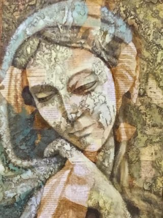 An Acrylic painting by Naji Sassine depicting Woman with main colour being Ochre and titled Mary 1