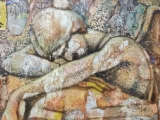 An Acrylic painting by Naji Sassine depicting Woman with main colour being Grey and Ochre and titled Weeping Angel