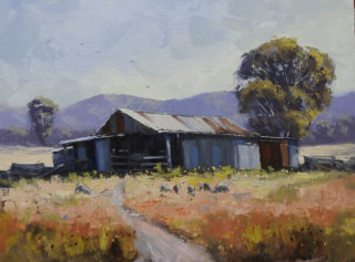 An Oil painting by John Rice in the Impressionist style  depicting Rural Buildings Bush and Farmland with main colour being Blue Green and Ochre and titled On Nayla