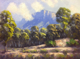 An Oil painting by John Rice in the Impressionist style  depicting Landscape Bush Hills and Mountains with main colour being Blue Green and Orange and titled Rising Mist, Glen Davis