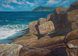 An Acrylic painting by John Duncan depicting Seascape Beach Rocks and Sea with main colour being Blue and Brown and titled Rock Face Albany Coast