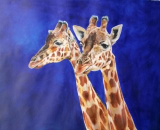 An Acrylic painting by Kathy Medbury in the Realist style  Animals with main colour being Blue Brown and Cream and titled Great Mates