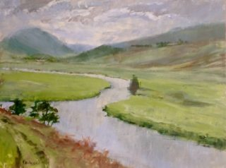 An Acrylic painting by Helen Paulucci in the Realist Impressionist style  depicting River Hills and Mountains with main colour being Blue Green and Grey and titled Scottish landscape view across the valley near Braemar