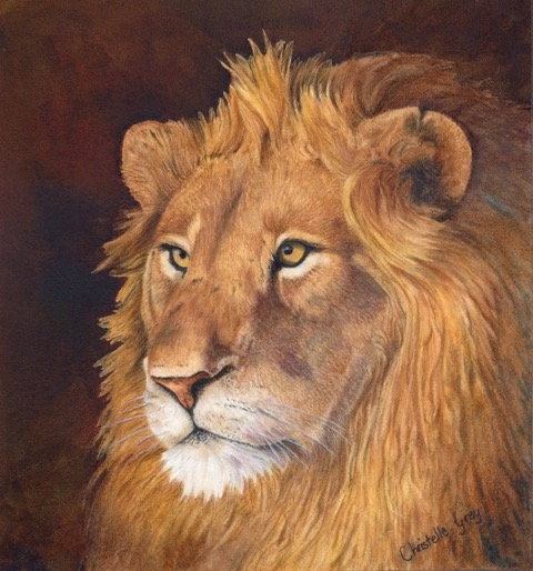 Watercolour Painting by Christelle Grey titled The King