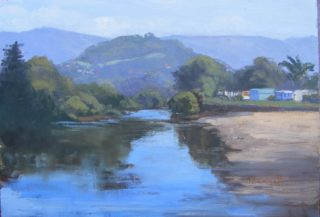 An Oil painting by Trish Bennett in the Impressionist style  depicting  Beach Hills and River with main colour being Blue Green and Ochre and titled On the River Windang NSW