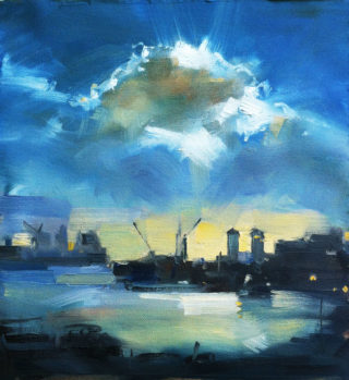 An Oil painting by Roz McQuillan in the Impressionist style  depicting Landscape with main colour being Blue and Yellow and titled Cloud over Docklands