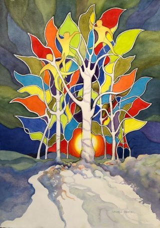 A Watercolour painting by Glenys Gaston in the Contemporary style  Fantasy with main colour being Blue Cream and Green and titled Enchantment