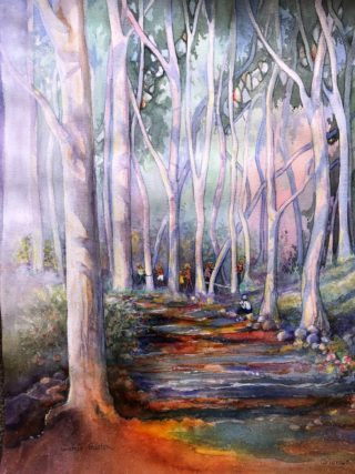 A Watercolour painting by Glenys Gaston in the Contemporary Realist style  Trees with main colour being Olive Orange and Purple and titled Playtime