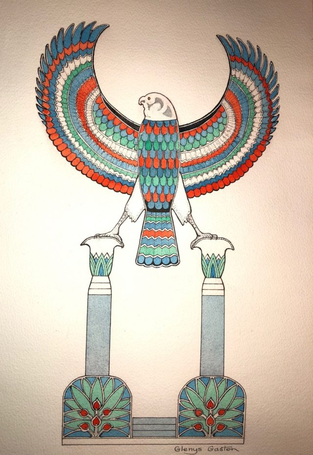Watercolour Painting by Glenys Gaston titled King Tut's Feathers