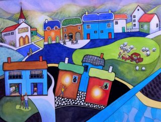 A Watercolour painting by Glenys Gaston in the Contemporary style  depicting Landscape Buildings and titled Concerto