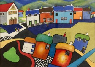 A Watercolour painting by Glenys Gaston in the Contemporary style  depicting Buildings and titled Rainbow Village