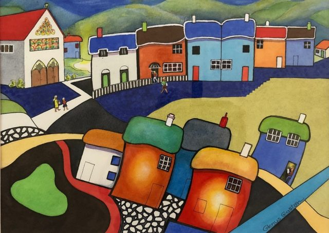 Watercolour Painting by Glenys Gaston titled Rainbow Village