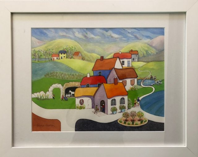Watercolour Painting by Glenys Gaston titled Village Life