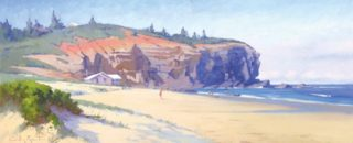 An Oil painting by Gordon Rossiter in the Realist Impressionist style  depicting Beach and titled Afternoon Red Head Beach