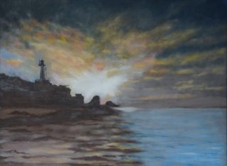 An Oil painting by John Vander Reest depicting Landscape Sunrise and Water with main colour being Blue and Brown and titled The Dawning of the Light